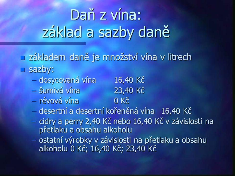 Daň z vína: základ a sazby daně