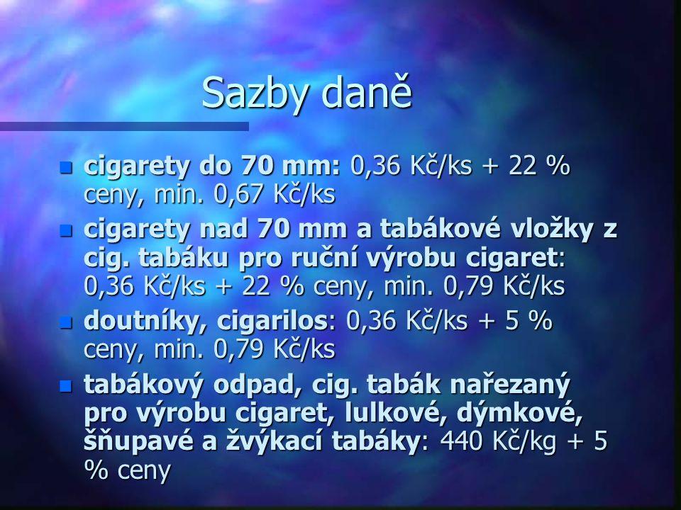Sazby daně cigarety do 70 mm: 0,36 Kč/ks + 22 % ceny, min. 0,67 Kč/ks