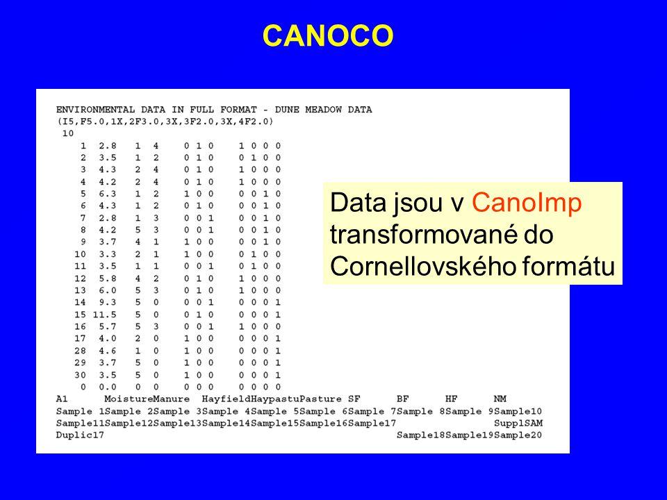 CANOCO Data jsou v CanoImp transformované do Cornellovského formátu