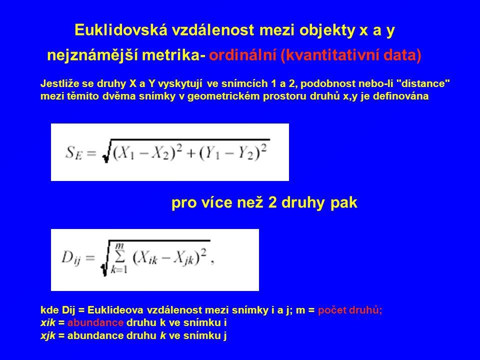 Euklidovská vzdálenost mezi objekty x a y