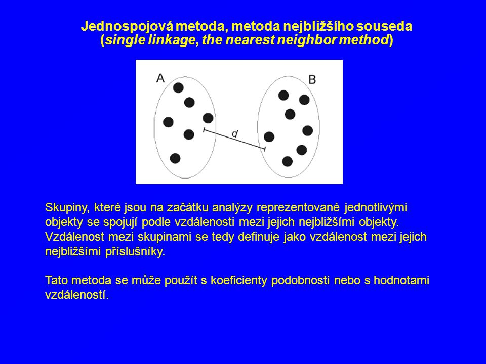 Jednospojová metoda, metoda nejbližšího souseda (single linkage, the nearest neighbor method)