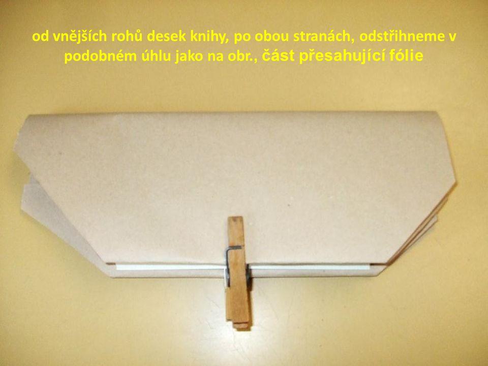 od vnějších rohů desek knihy, po obou stranách, odstřihneme v podobném úhlu jako na obr., část přesahující fólie