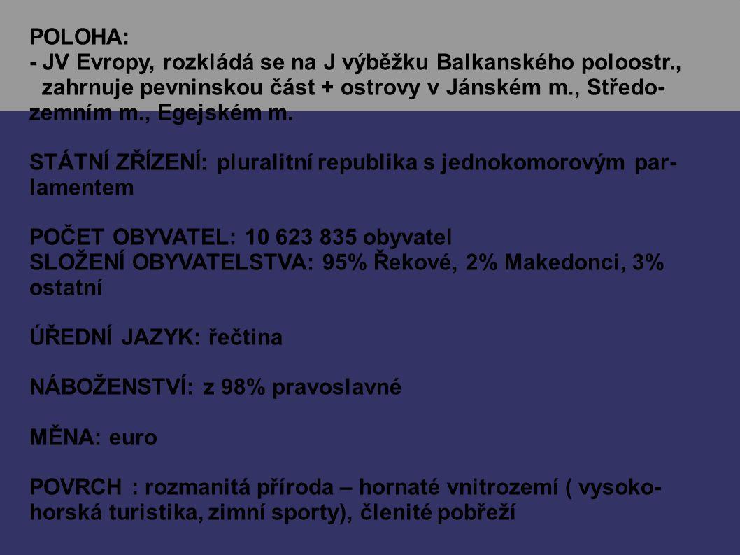 POLOHA: - JV Evropy, rozkládá se na J výběžku Balkanského poloostr.,