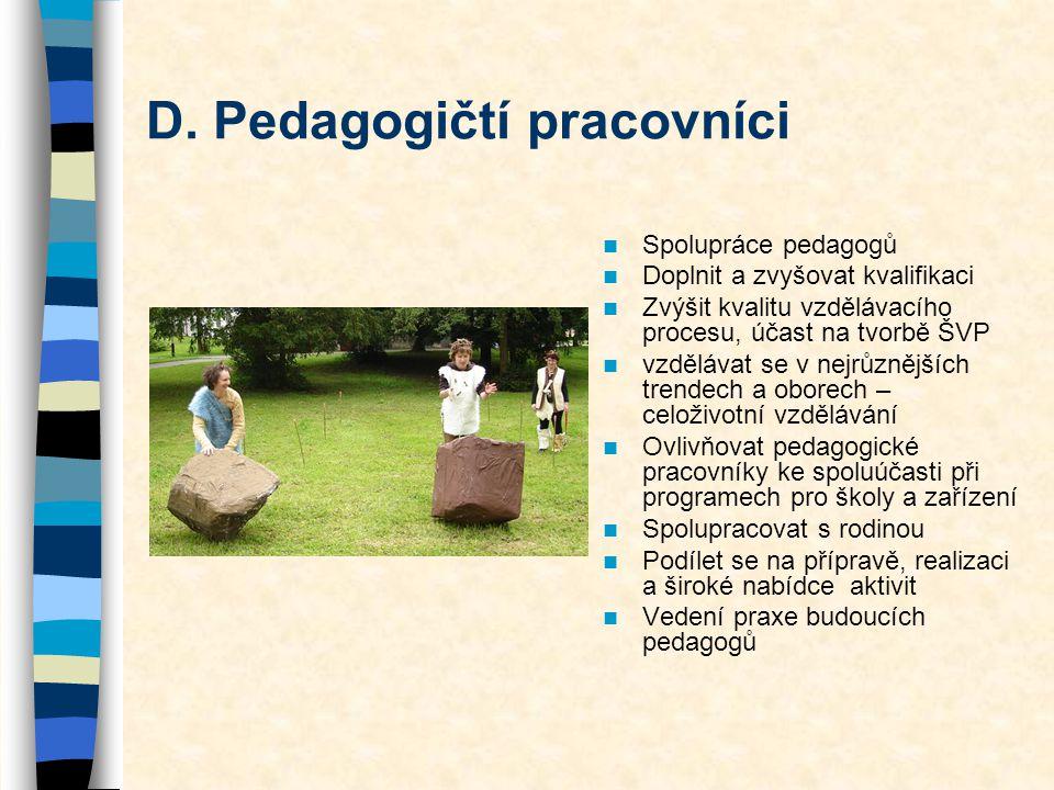 D. Pedagogičtí pracovníci