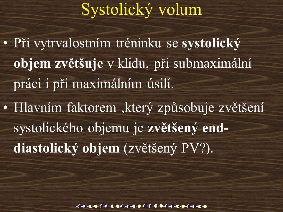 Systolický volum Při vytrvalostním tréninku se systolický objem zvětšuje v klidu, při submaximální práci i při maximálním úsilí.