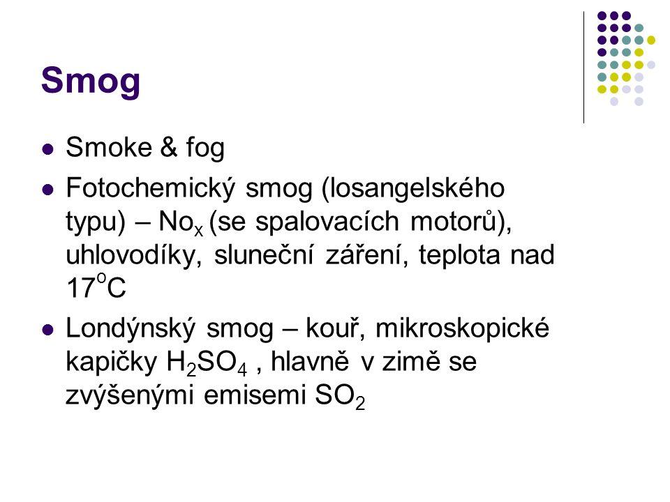 Smog Smoke & fog. Fotochemický smog (losangelského typu) – Nox (se spalovacích motorů), uhlovodíky, sluneční záření, teplota nad 17oC.
