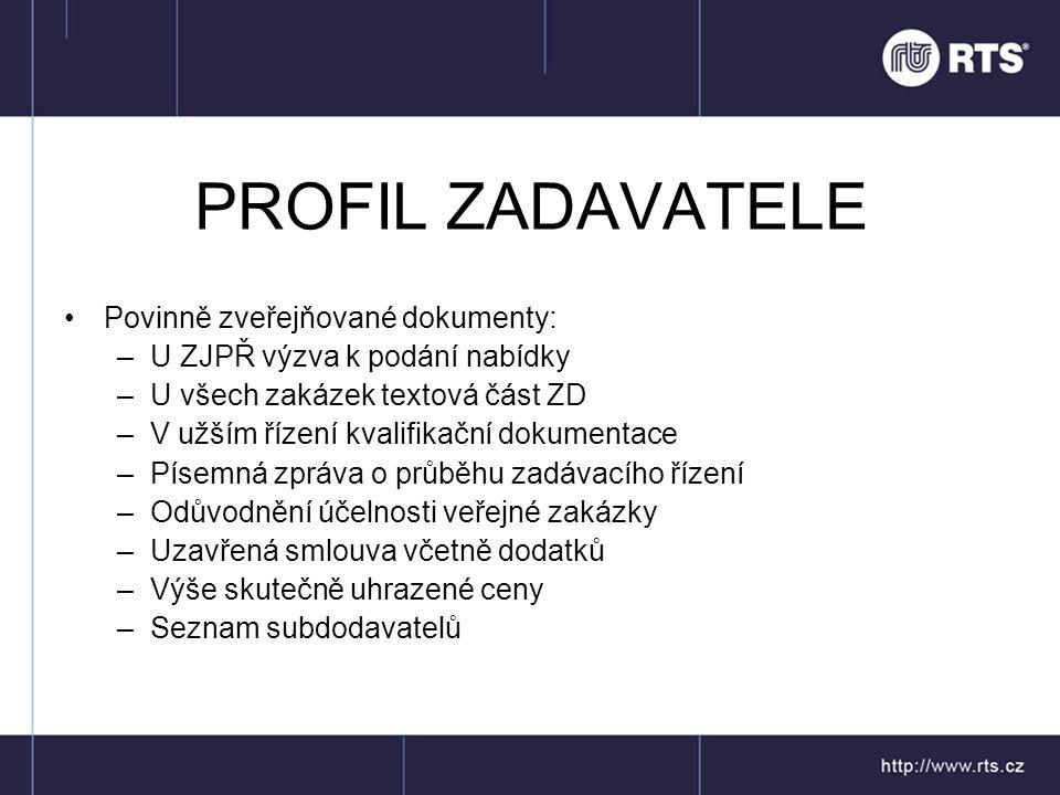 PROFIL ZADAVATELE Povinně zveřejňované dokumenty: