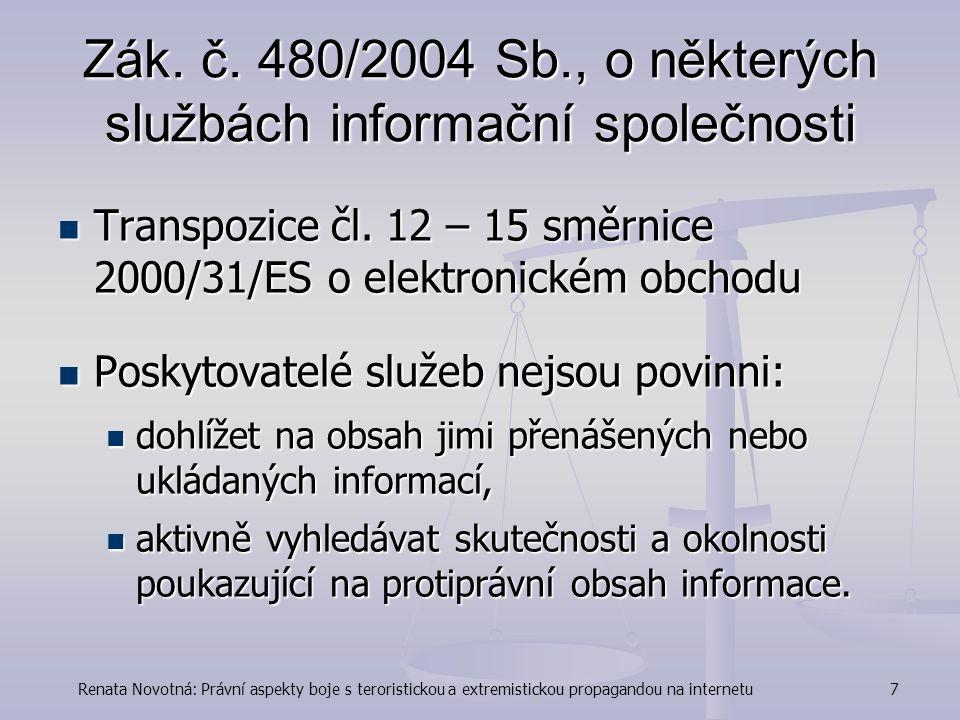 Zák. č. 480/2004 Sb., o některých službách informační společnosti