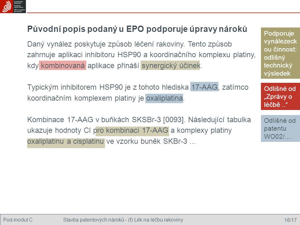 Původní popis podaný u EPO podporuje úpravy nároků