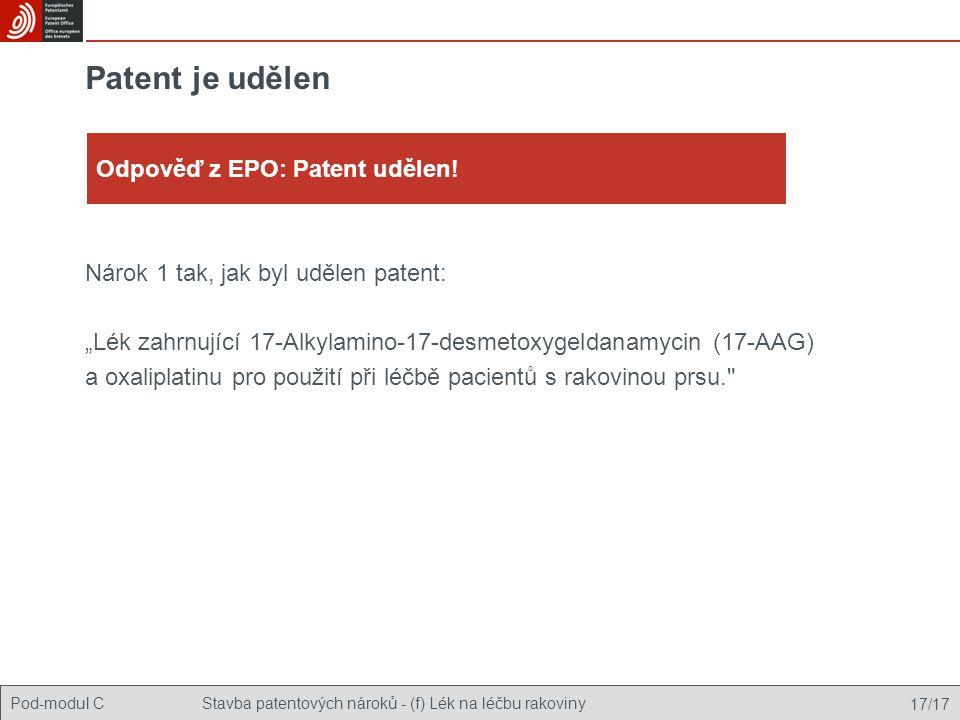 Patent je udělen Odpověď z EPO: Patent udělen!