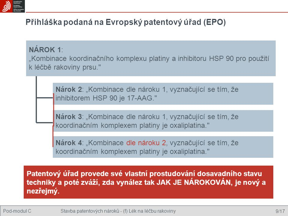 Přihláška podaná na Evropský patentový úřad (EPO)