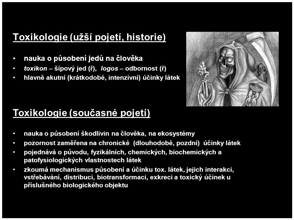 Toxikologie (užší pojetí, historie)