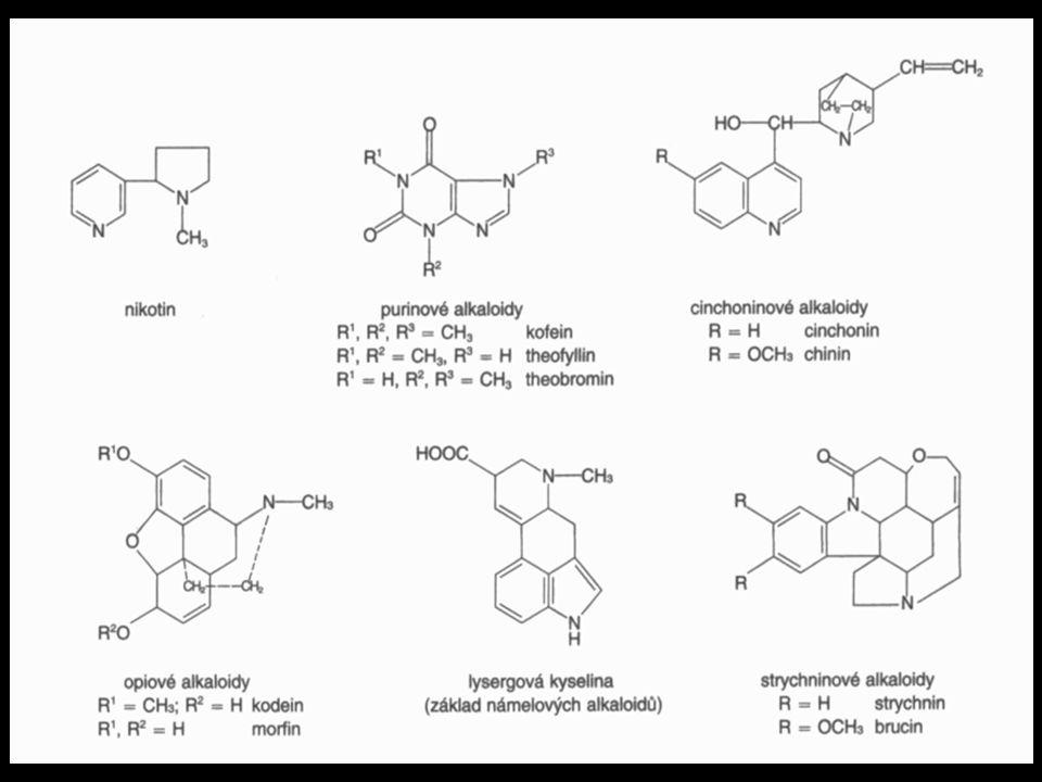 Alkaloidy skupina zahrnující více než 7 000 složitých organických sloučenin. obvykle rostlinného, zřídka živočišného původu.