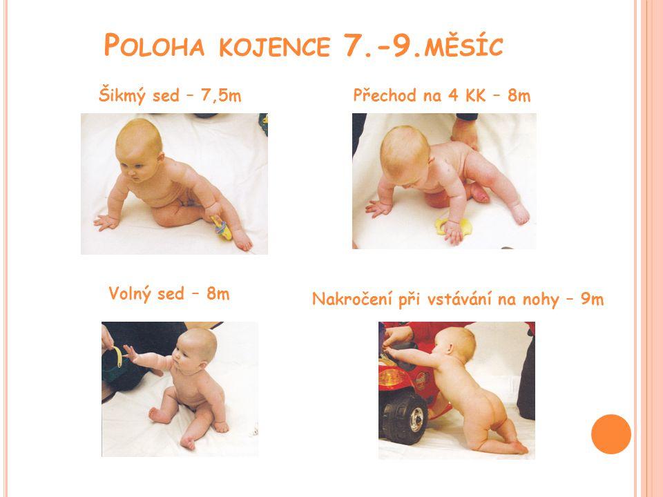 Poloha kojence 7.-9.měsíc Šikmý sed – 7,5m Přechod na 4 KK – 8m