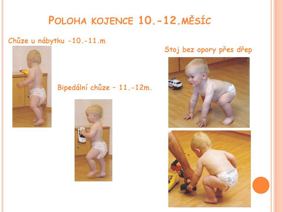Poloha kojence 10.-12.měsíc Chůze u nábytku -10.-11.m