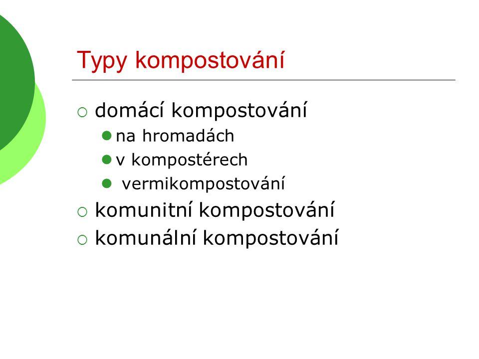 Typy kompostování domácí kompostování komunitní kompostování