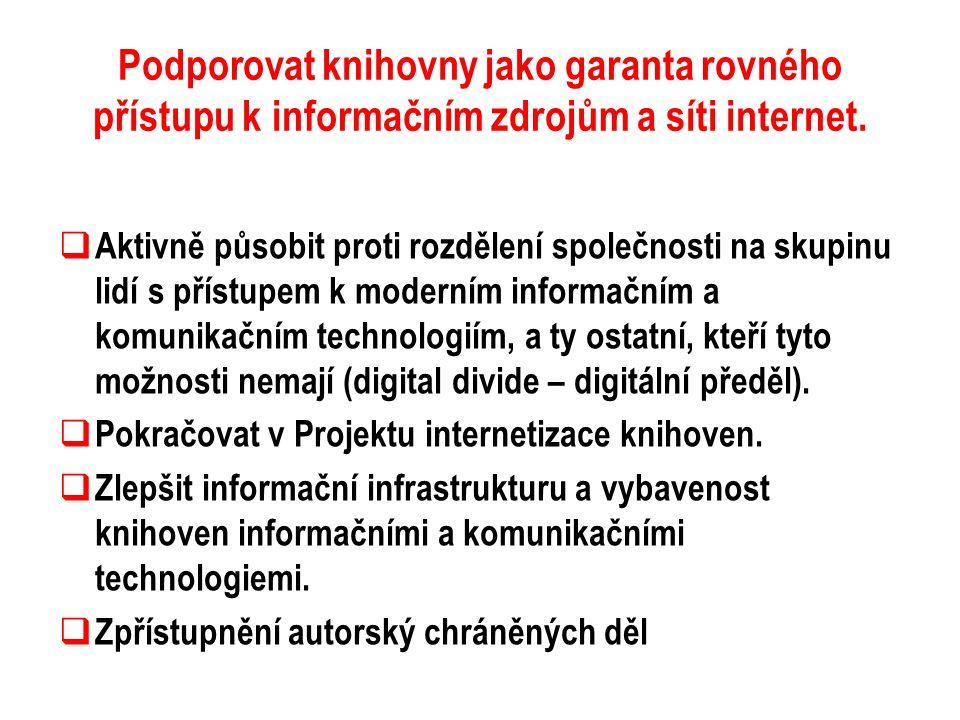 Podporovat knihovny jako garanta rovného přístupu k informačním zdrojům a síti internet.