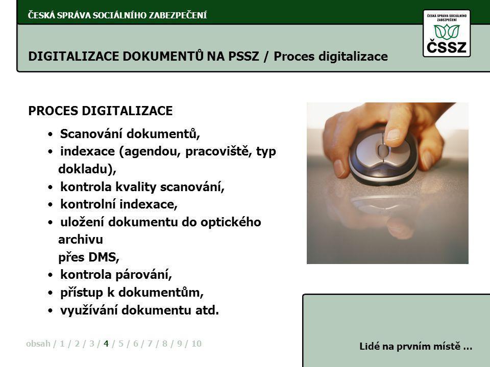 DIGITALIZACE DOKUMENTŮ NA PSSZ / Proces digitalizace