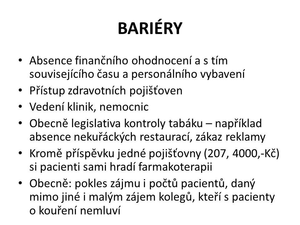 BARIÉRY Absence finančního ohodnocení a s tím souvisejícího času a personálního vybavení. Přístup zdravotních pojišťoven.