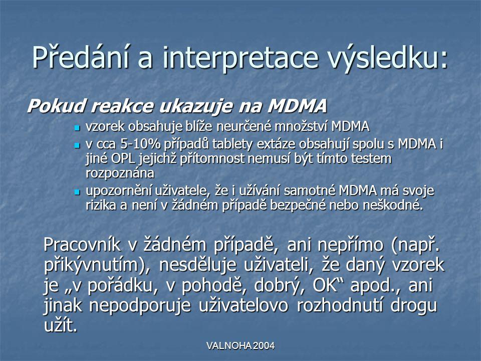 Předání a interpretace výsledku: