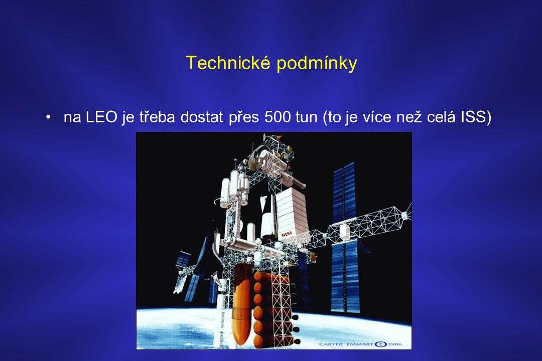 Technické podmínky na LEO je třeba dostat přes 500 tun (to je více než celá ISS)