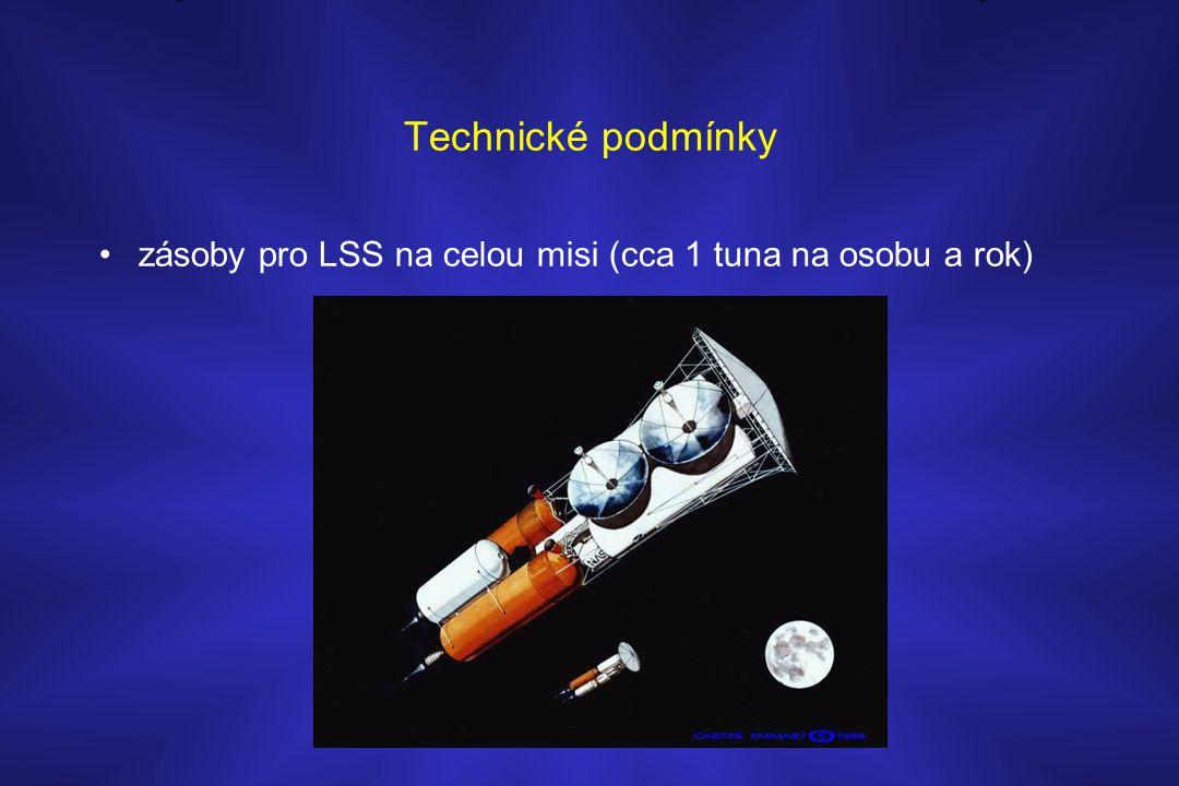Technické podmínky zásoby pro LSS na celou misi (cca 1 tuna na osobu a rok)