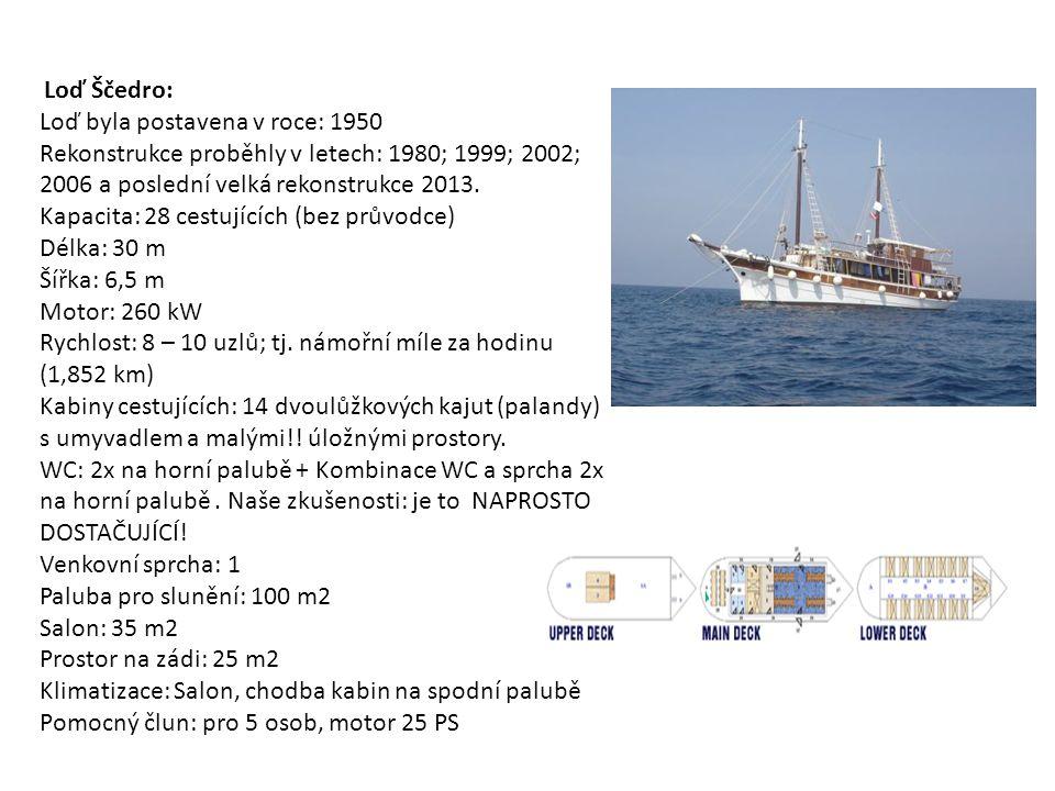 Loď Ščedro: Loď byla postavena v roce: 1950 Rekonstrukce proběhly v letech: 1980; 1999; 2002; 2006 a poslední velká rekonstrukce 2013.