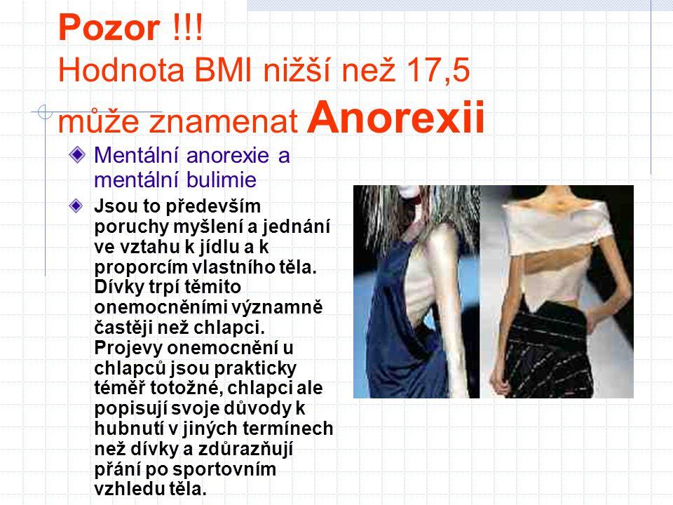Pozor !!! Hodnota BMI nižší než 17,5 může znamenat Anorexii