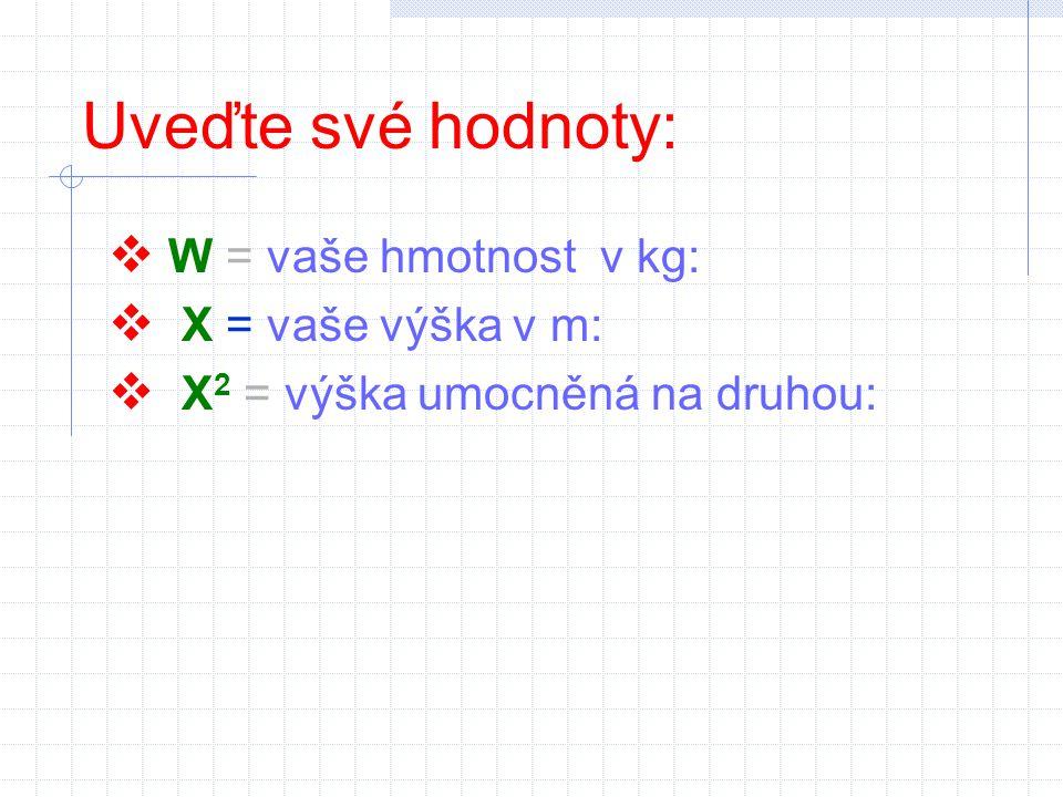 Uveďte své hodnoty: W = vaše hmotnost v kg: X = vaše výška v m: