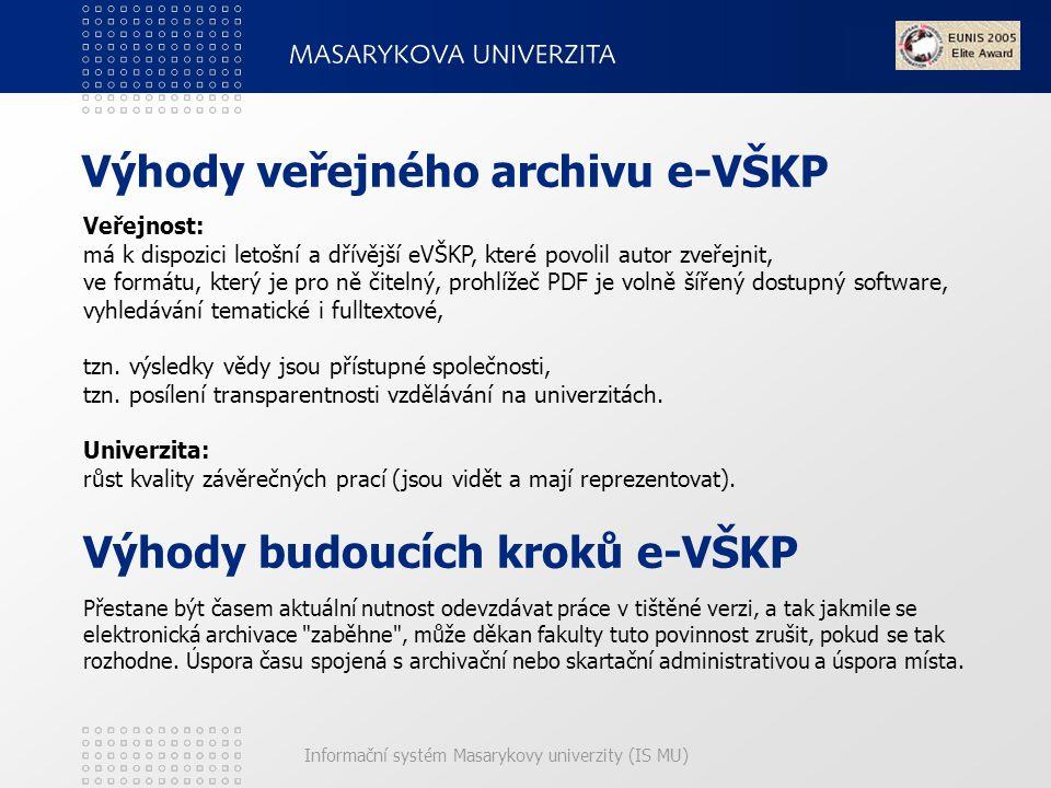 Výhody veřejného archivu e-VŠKP