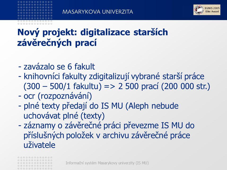 Nový projekt: digitalizace starších závěrečných prací