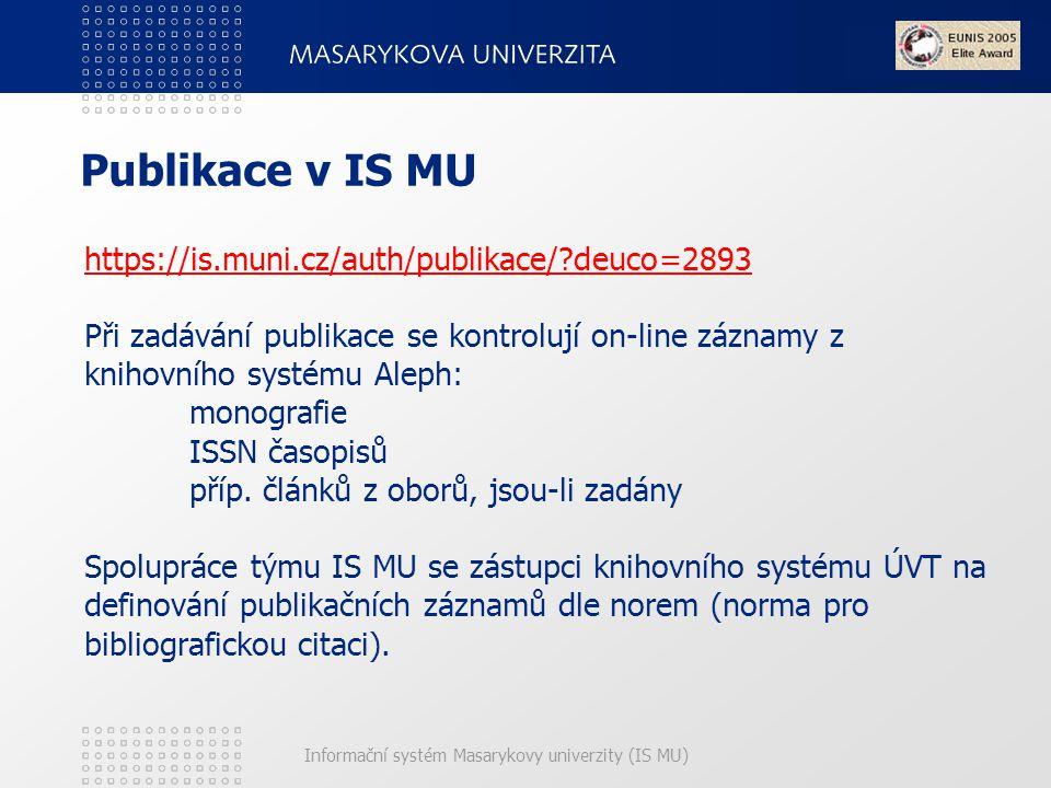Publikace v IS MU