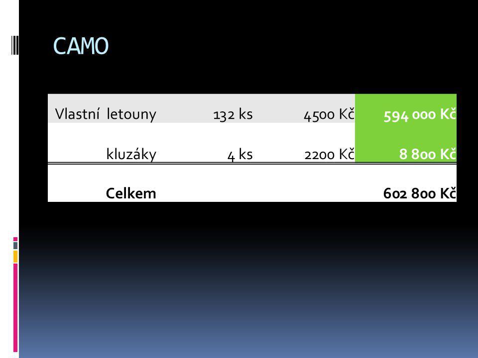 CAMO Vlastní letouny 132 ks 4500 Kč 594 000 Kč kluzáky 4 ks 2200 Kč