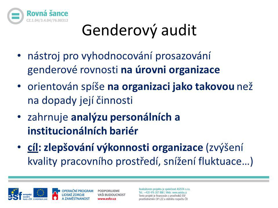 Genderový audit nástroj pro vyhodnocování prosazování genderové rovnosti na úrovni organizace.