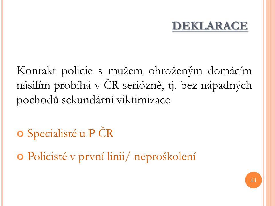 deklarace Kontakt policie s mužem ohroženým domácím násilím probíhá v ČR seriózně, tj. bez nápadných pochodů sekundární viktimizace.