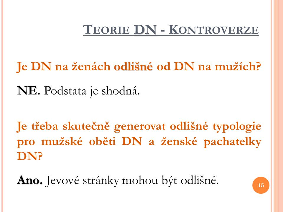 Teorie DN - Kontroverze