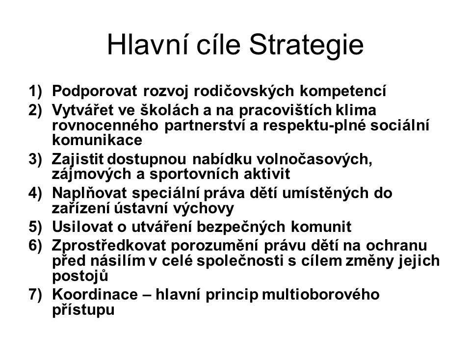 Hlavní cíle Strategie Podporovat rozvoj rodičovských kompetencí