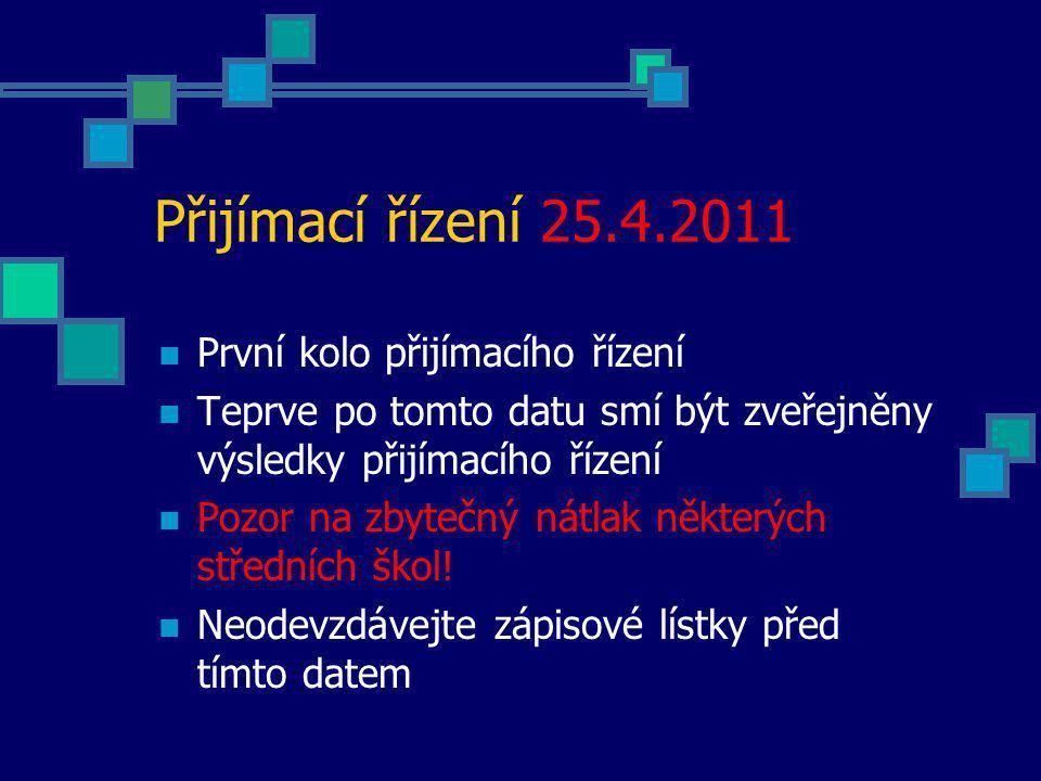 Přijímací řízení 25.4.2011 První kolo přijímacího řízení
