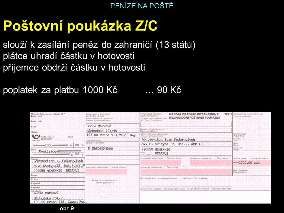Poštovní poukázka Z/C slouží k zasílání peněz do zahraničí (13 států)
