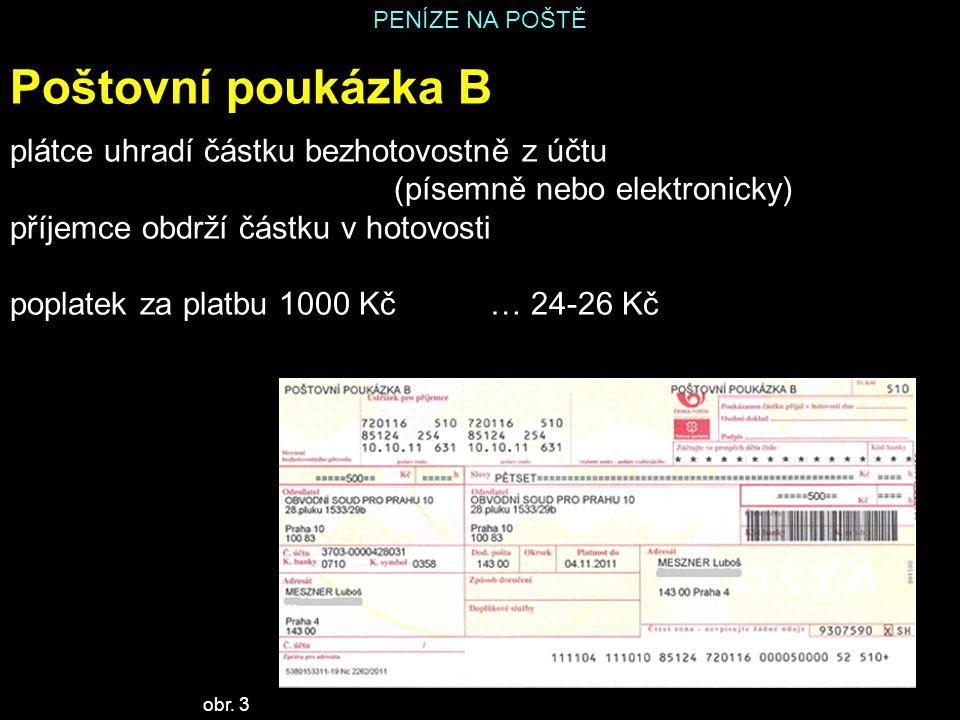 Poštovní poukázka B plátce uhradí částku bezhotovostně z účtu