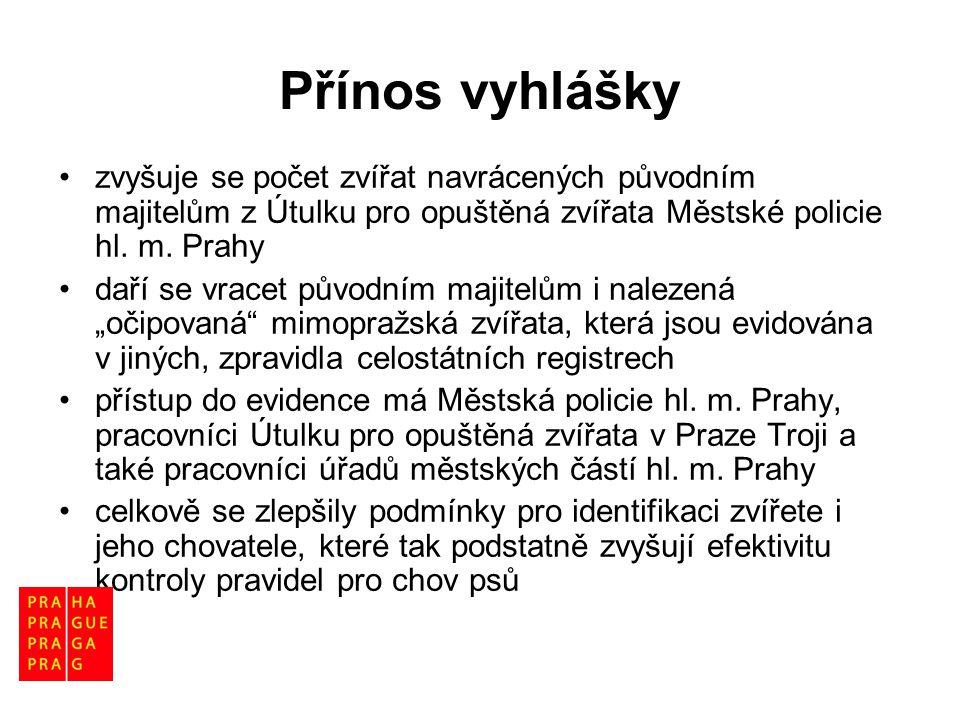 Přínos vyhlášky zvyšuje se počet zvířat navrácených původním majitelům z Útulku pro opuštěná zvířata Městské policie hl. m. Prahy.