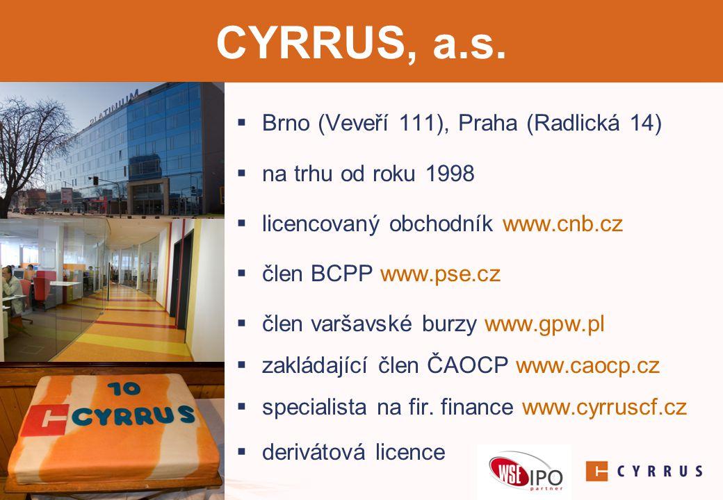 CYRRUS, a.s. Brno (Veveří 111), Praha (Radlická 14)
