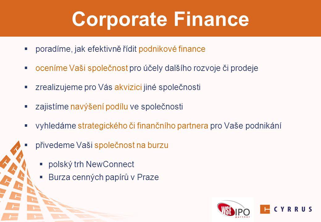 Corporate Finance poradíme, jak efektivně řídit podnikové finance