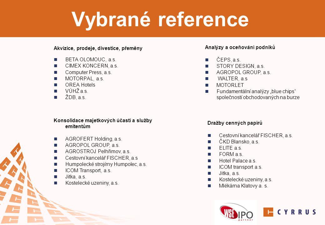 Vybrané reference Analýzy a oceňování podniků