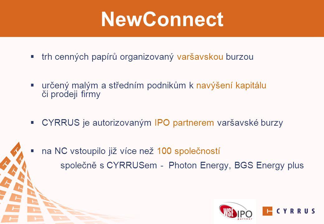 NewConnect trh cenných papírů organizovaný varšavskou burzou