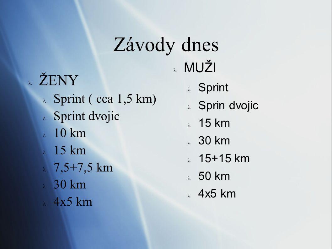 Závody dnes ŽENY MUŽI Sprint ( cca 1,5 km) Sprint dvojic 10 km 15 km