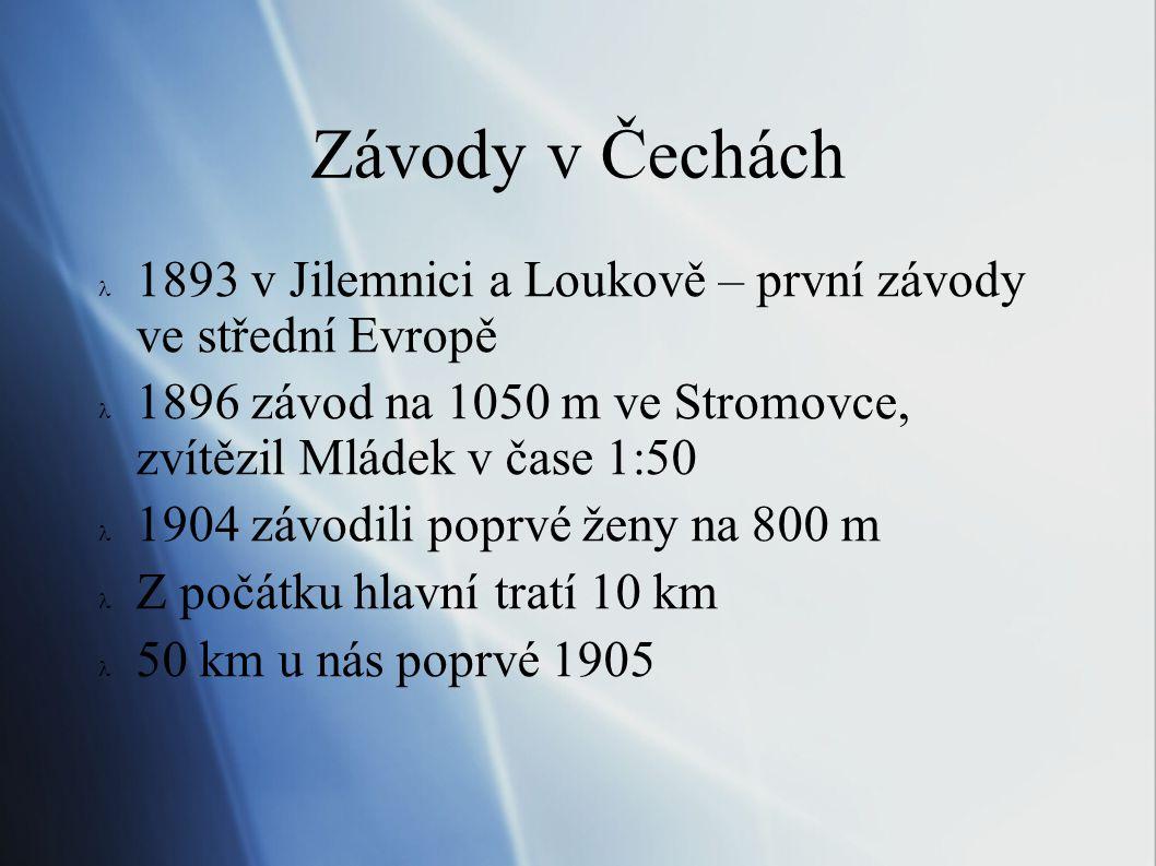 Závody v Čechách 1893 v Jilemnici a Loukově – první závody ve střední Evropě. 1896 závod na 1050 m ve Stromovce, zvítězil Mládek v čase 1:50.