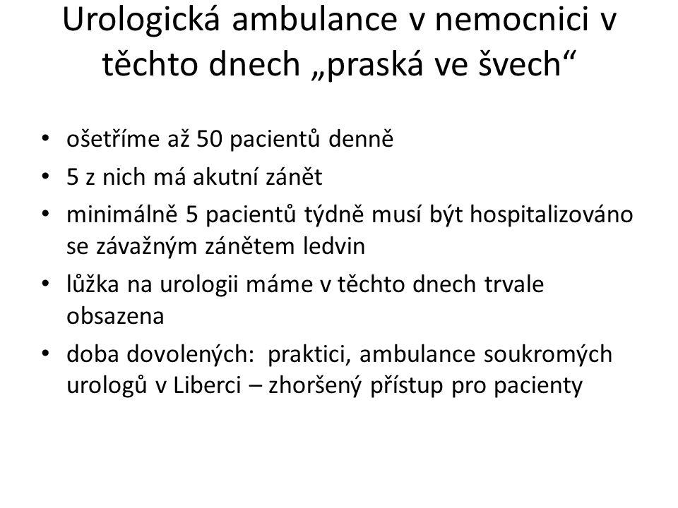 """Urologická ambulance v nemocnici v těchto dnech """"praská ve švech"""