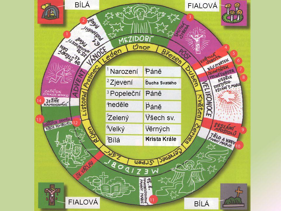 BÍLÁ FIALOVÁ Narození Páně Zjevení Popeleční Páně neděle Páně Zelený