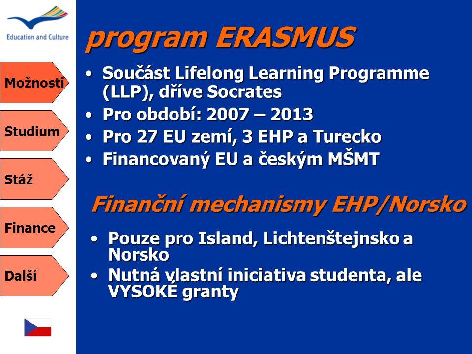 program ERASMUS Finanční mechanismy EHP/Norsko